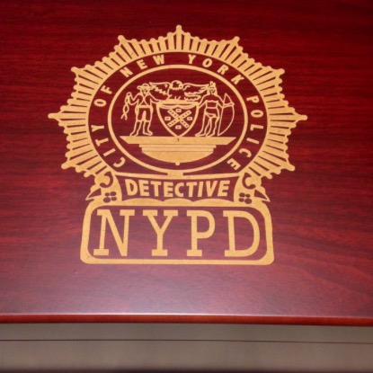 N.Y.P.D. Detective Shield Engraved Desktop Cigar Humidor